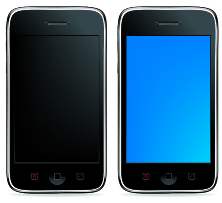 smartphone apps: 2 Mobile Phones Or Smartphones With Touchpades And Buttons, Isolated On White