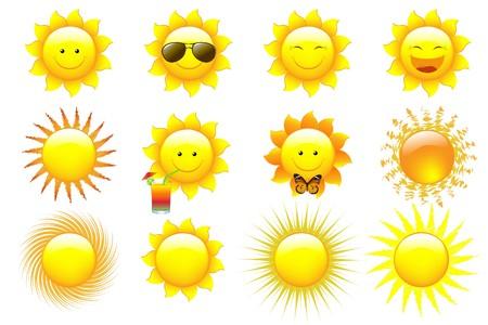 sol caricatura: Conjunto de dibujos de personajes de Sun, aislado en blanco  Foto de archivo