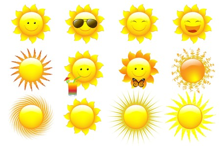 smiling sun:  Set Cartoon Sun Characters, isolated On White