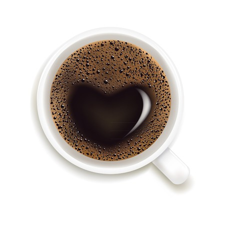 americano: Cup Of Coffee With Heart Image Isolated On White Background,  Illustration