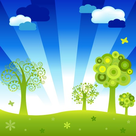 Cartoon  Landscape With Trees And Clouds, Vector Illustration