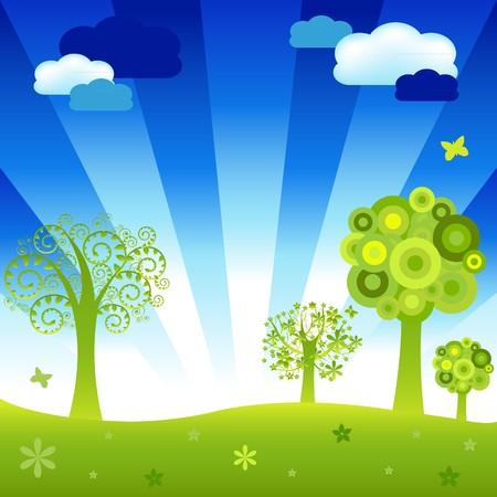paysage dessin anim�: Dessin anim� Paysage les arbres et les nuages, Vector Illustration