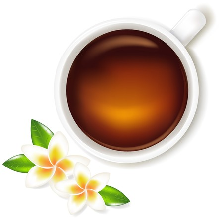 Cup Of Tea With Frangipani, Isolated On White Background, Vector Illustration Vector
