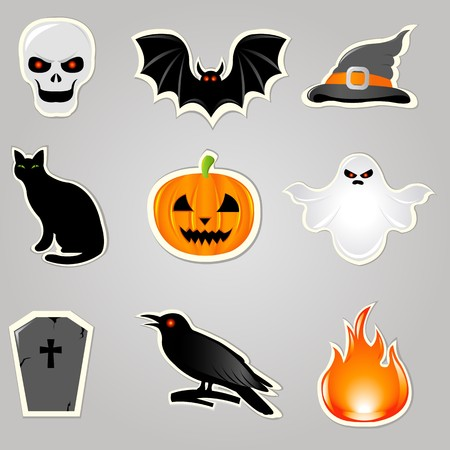 Halloween Symbols And Elements, Stickers Set, Vector Illustration Vector