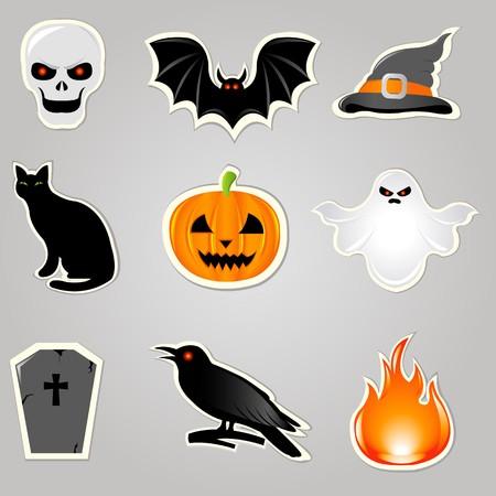tumbas: S�mbolos de Halloween Y elementos, conjunto de stickers, ilustraci�n vectorial  Vectores