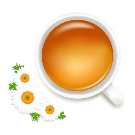 chamomile tea: Herbal Tea With Camomile, Isolated On White Background, Vector Illustration