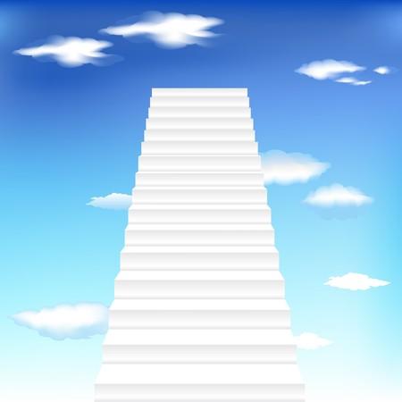 White Staircase In Blue Sky, Vector Illustration Illustration