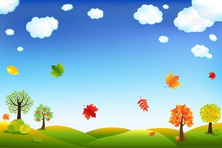prato e cielo: Autunno Cartoon paesaggio con alberi e foglie, illustrazione vettoriale