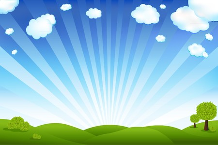 blue ray: Beautiful Landscape With Trees And Clouds, Vector Illustration Illustration