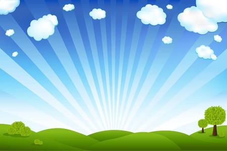 field and sky: Bellissimo paesaggio con alberi e nuvole, illustrazione vettoriale  Vettoriali