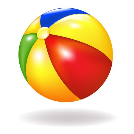 inflar: Bright Beach Ball, aislada en fondo blanco, ilustraci�n vectorial