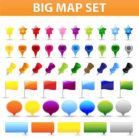 gps navigation: Mapa de grande y elementos de navegaci�n GPS para sus proyectos Web, aisladas en fondo blanco, ilustraci�n vectorial