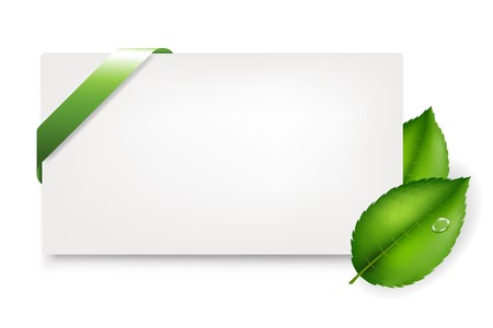 eco notice: Blank Gift Tag With Leaves And Green Satin Ribbon, Isolated On Grey Background, Vector Illustration