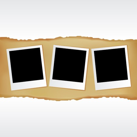 3 Blank Photos And White Paper On Vintage Background, Vector Illustration Stock Vector - 8115275