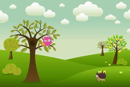 arboles de caricatura: Paisaje fant�stico con b�hos, erizo y �rboles, ilustraci�n vectorial