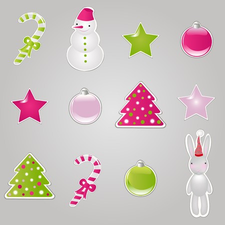 Christmas Symbols And Elements, Stickers Set, Vector Illustration Vector