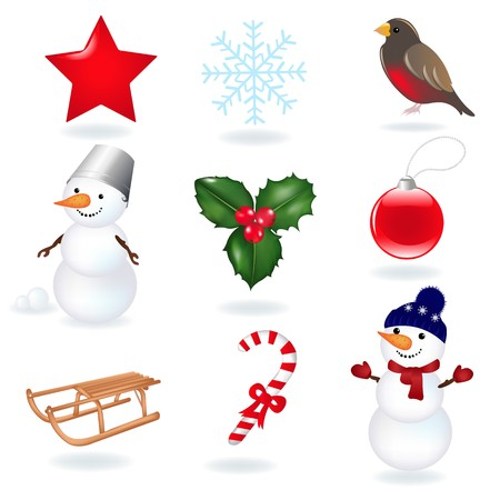 Christmas Icons, Isolated On White Background, Vector Illustration Stock Vector - 8115290