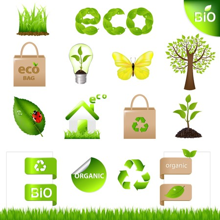 eco friendly: 18 Eco Design Elements And Icons, Isolated On White Background, Vector Illustration Illustration