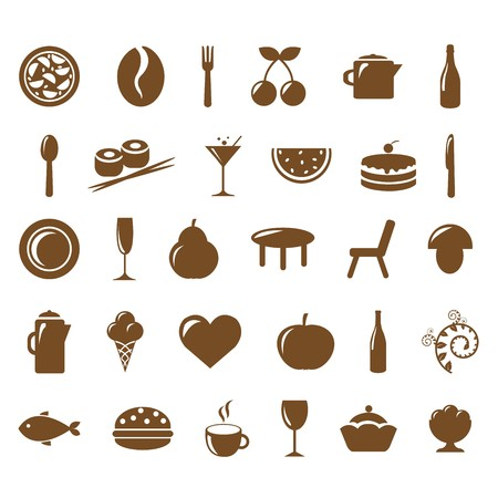 Collection Restaurant Icons, Vector Illustration Vector
