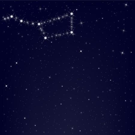 ursa: Dark Blue Sky With Constellation Of Ursa Major, Vector Illustration