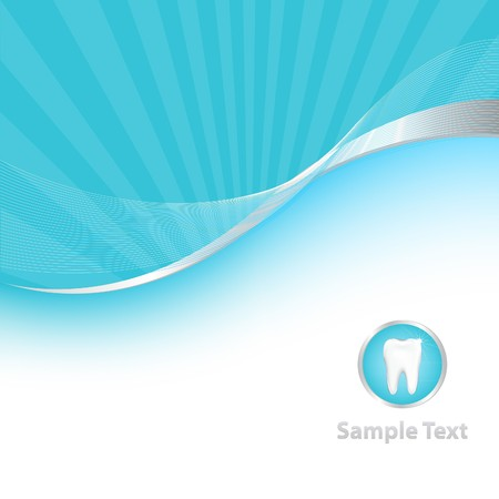 karies: Blue Dental Background With Tooth, Vector Illustration