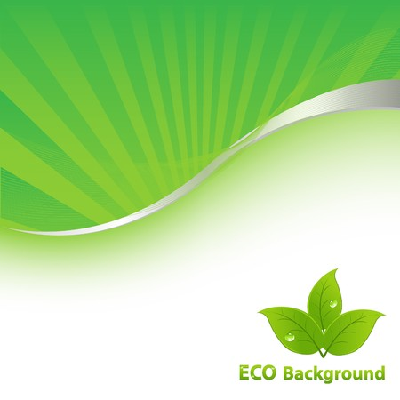 digitally generated image: Green Eco Background With Leaves And Text, Vector Illustration