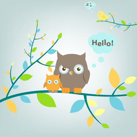 2 Owls Sitting On Tree, Vector Illustration