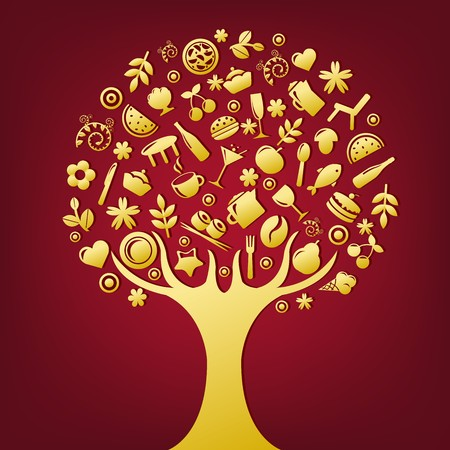 Gold Tree Made Of Products And Subjects Of Restaurant Icons, Vector Illustration Vector