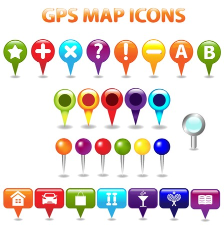 gps map: 27 GPS Color Map Icons, Isolated On White Background, Vector Illustration
