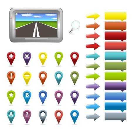 marcador: Navegador y mapa de iconos, aisladas en fondo blanco, ilustraci�n vectorial