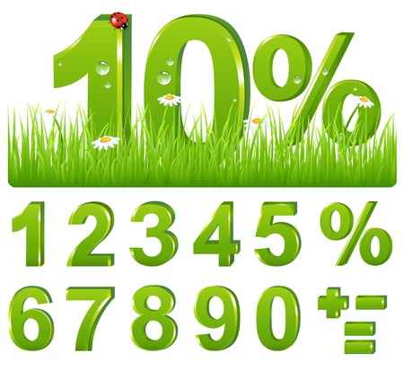 an illustration promoting: Set Of Green Discount Figures And Percent And Signs For Your Design, Isolated on white Illustration
