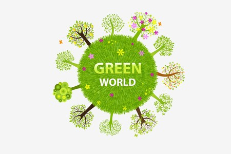 Green World  With Trees, Isolated On White Background, Vector Illustration Illustration