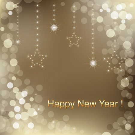 compliments: Happy New Year Background With Stars And Text, Vector Illustration