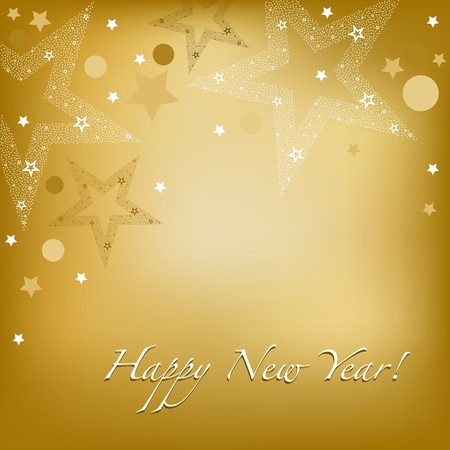 happy new year text: Happy New Year Background With Stars And Text, Vector Illustration
