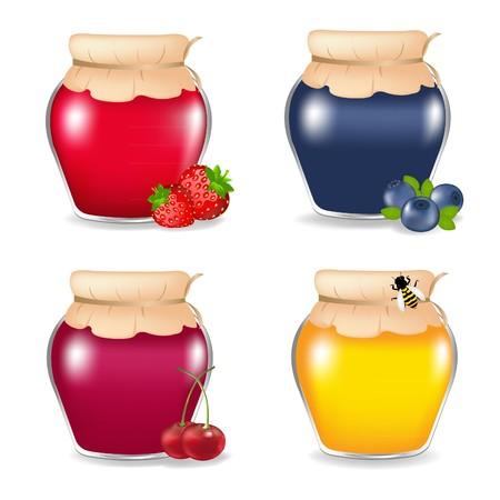 mermelada: 3 Las jarras de mermelada Y Honey Jar, aislada en fondo blanco, ilustraci�n vectorial