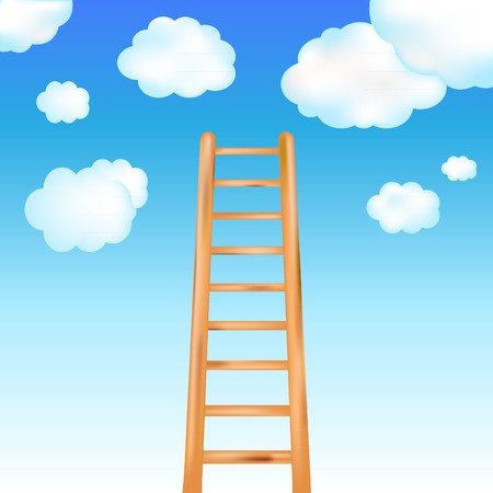 ascent: Ladder In Blue Sky, Vector Illustration