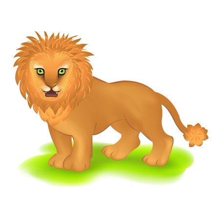 Lion On Green Lawn, Isolated On White Background, Vector Illustration Vector