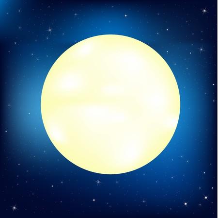 milkyway: Nachtelijke hemel met sterren en maan, vectorillustratie  Stock Illustratie