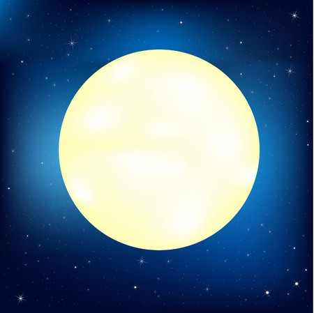 Night Sky With Stars And Moon, Vector Illustration  Illustration