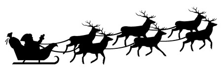 santas sleigh: Silhouette Of Santa Claus On Sledge With Deer, Isolated On White Background, Vector Illustration  Illustration