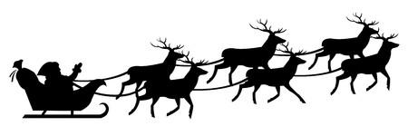 sledge: Silueta de Santa Claus en Sledge con ciervo, aislada en fondo blanco, ilustraci�n vectorial