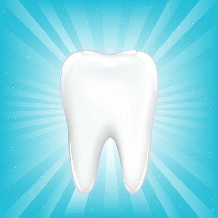 diente caries: Diente, sobre fondo azul con vigas y estrellas, ilustraci�n vectorial