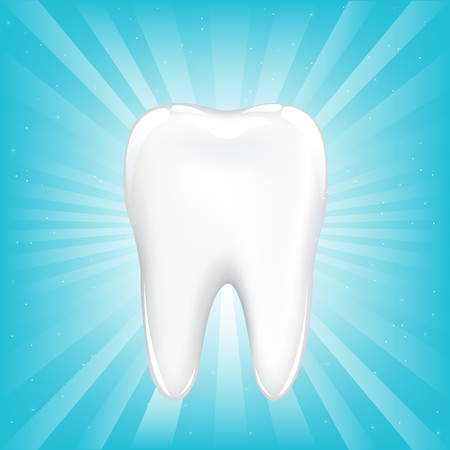carious: Tooth, On Blue Background With Beams And Stars, Vector Illustration