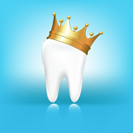 tooth decay: Tooth In Golden Crown, On Blue Background, Vector Illustration