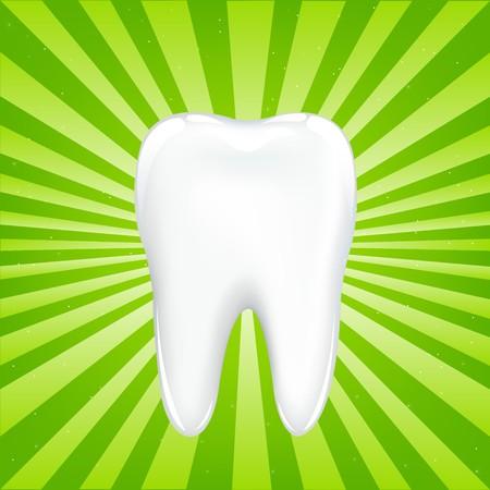 dientes con caries: Los dientes con vigas, sobre fondo verde con vigas, ilustraci�n vectorial