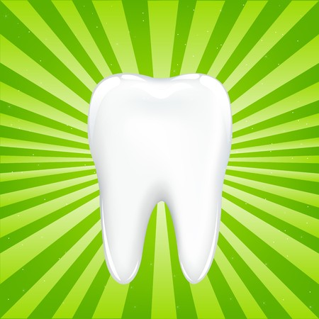 tooth root: Tooth With Beams, On Green Background With Beams, Vector Illustration