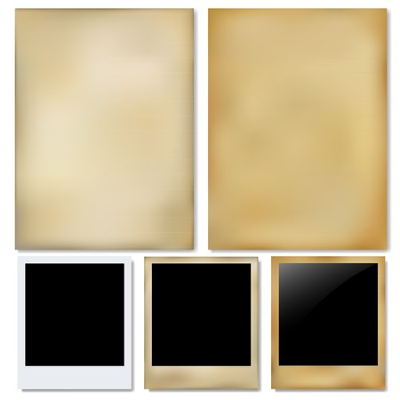 canvas print: Vintage Paper And Photo, Isolated On White Background, Vector Illustration