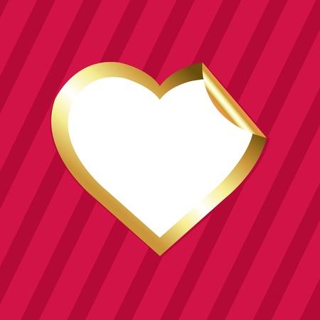 crimson: Heart Of Gold Sticker, On Crimson Background With Strips