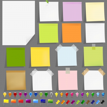 adhesive: 15 Documentos pegajosos con cintas adhesivas, marcadores y elementos del mapa GPS