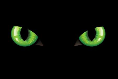 vision nocturna: Verde peligrosas ojos de gato salvaje